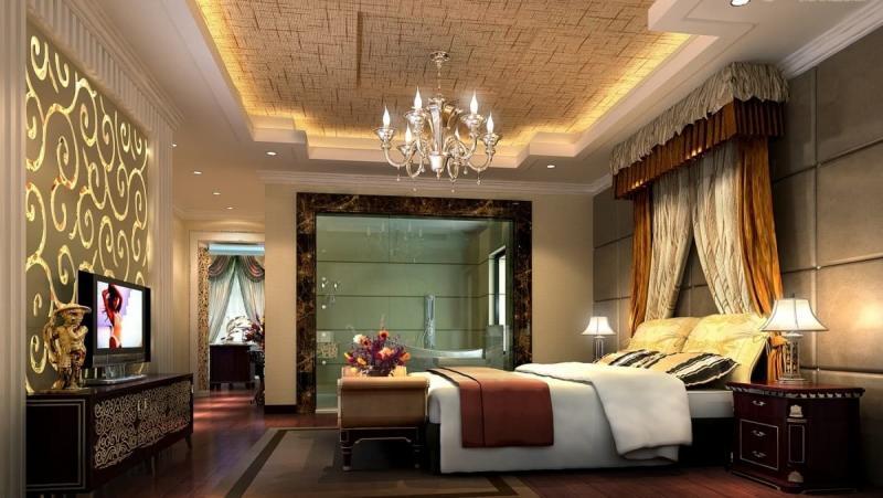 Потолок из гипсокартона в спальне 7