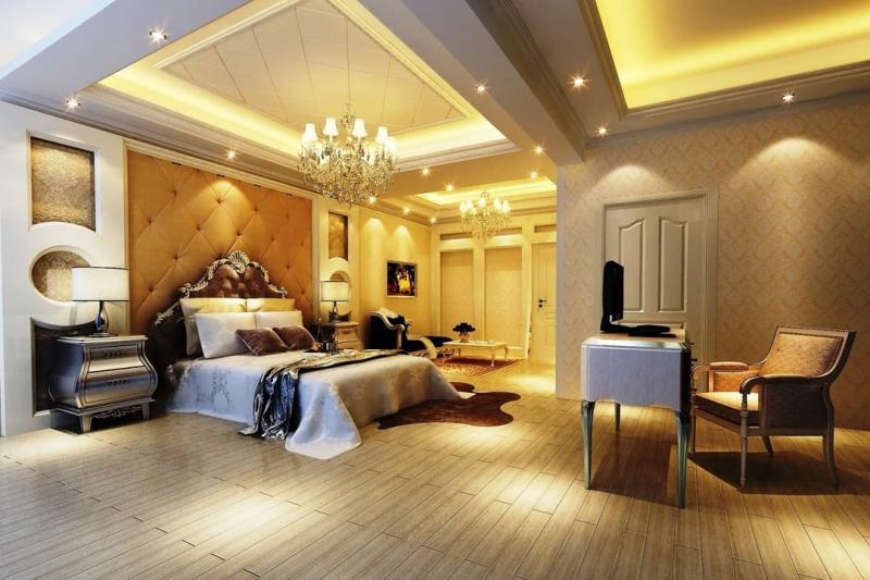 Потолок из гипсокартона в спальне 8