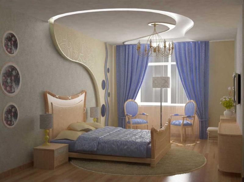 Потолок из гипсокатона для спальни 12-14 м 3