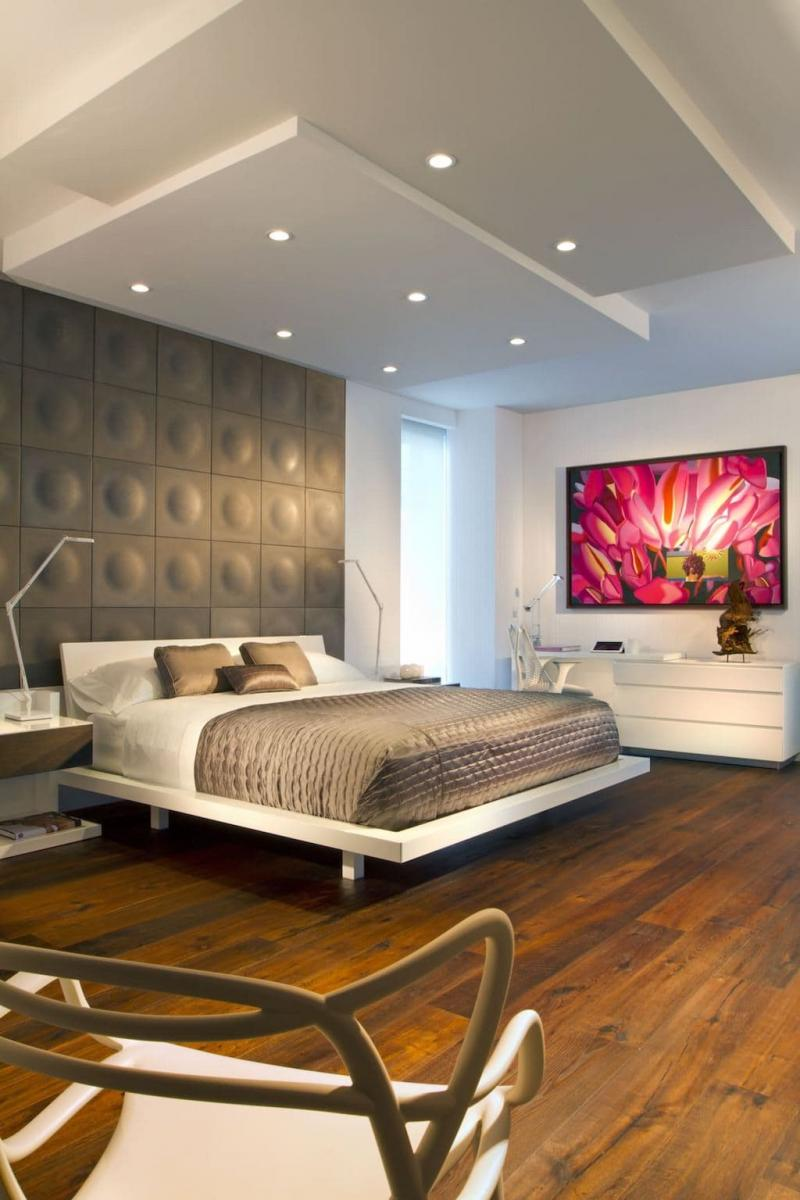 Потолок из гипсокатона для спальни 12-14 м 7