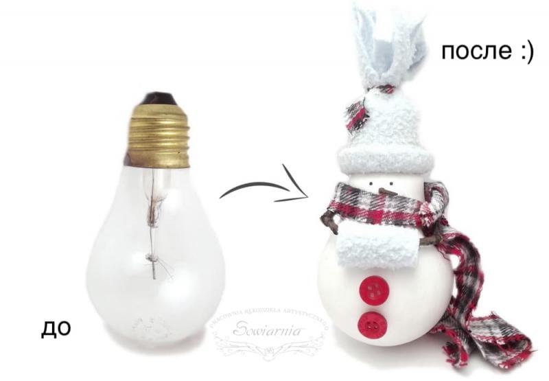 Снеговик из старой лампочки 2
