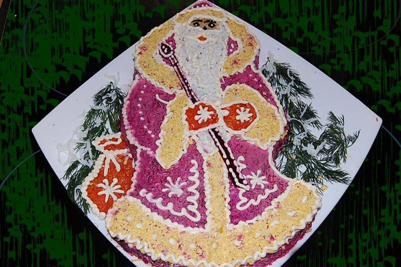 Новогодний салат Дед Мороз 2