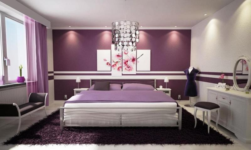 Акцентная фиолетовая стена 1