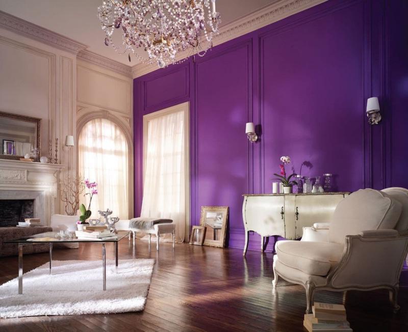 Акцентная фиолетовая стена 5