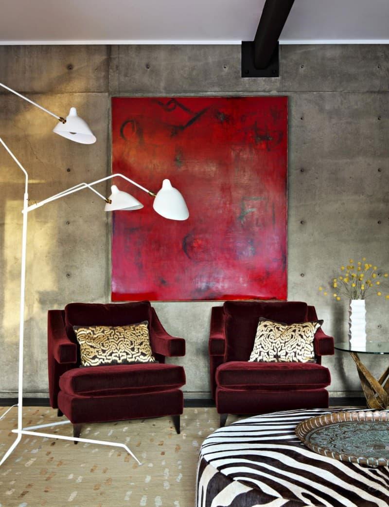 Оттенок Бургундский красный в интерьере 6
