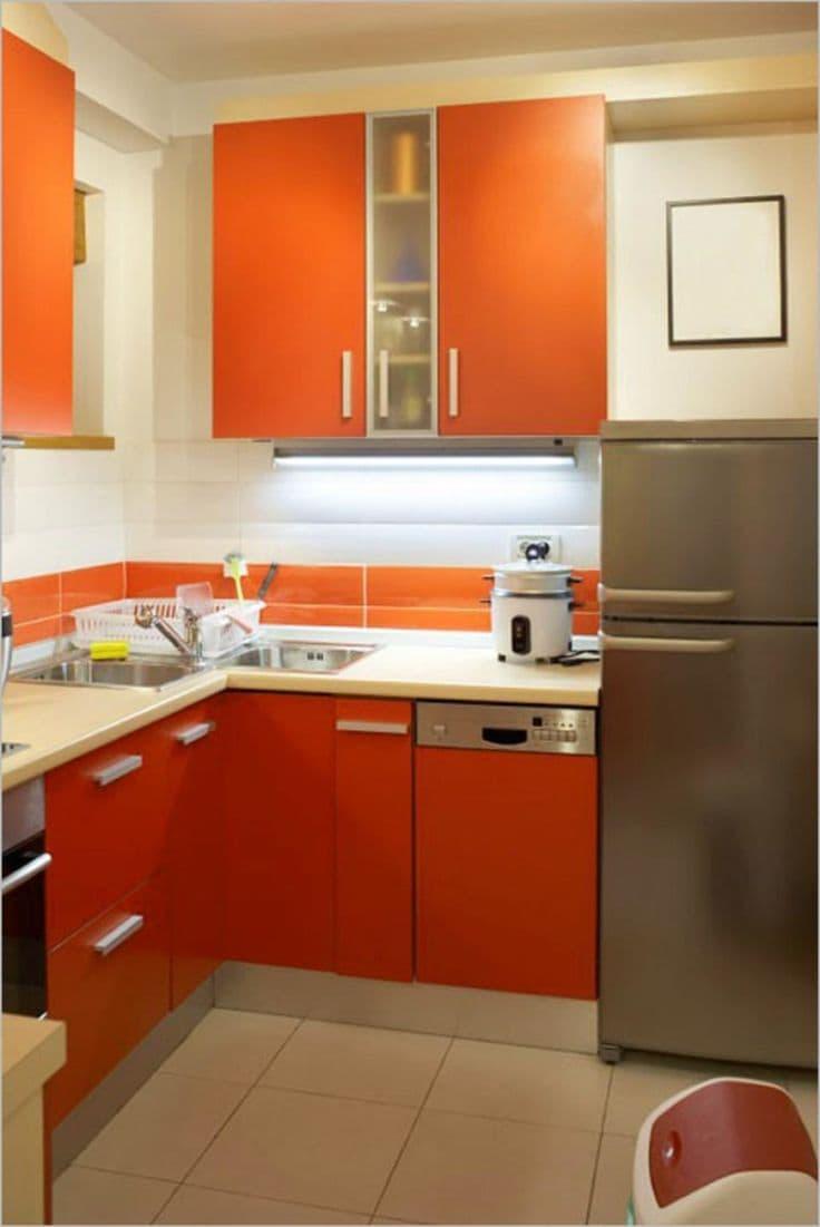 Оттенок Оранжевая папайа в интерьере 3