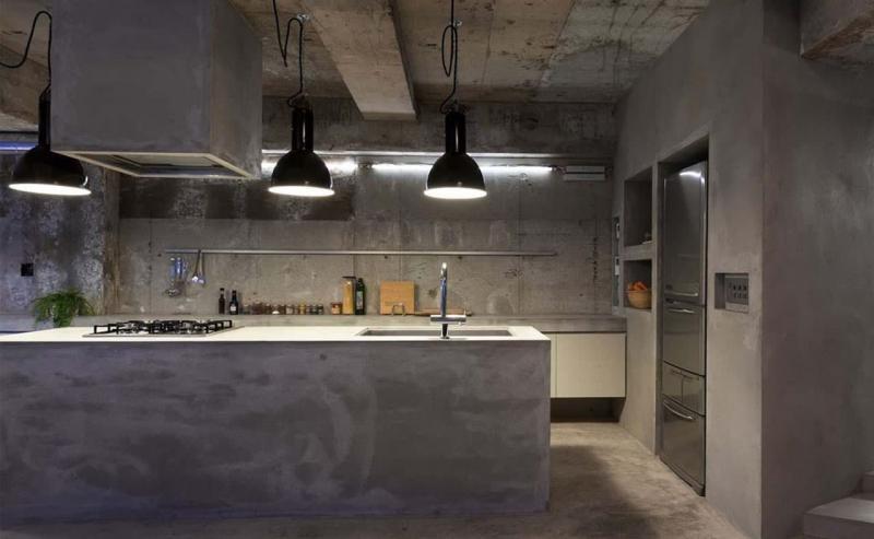 Бетон в интерьере кухни 2