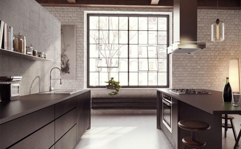 Бетон в интерьере кухни 5