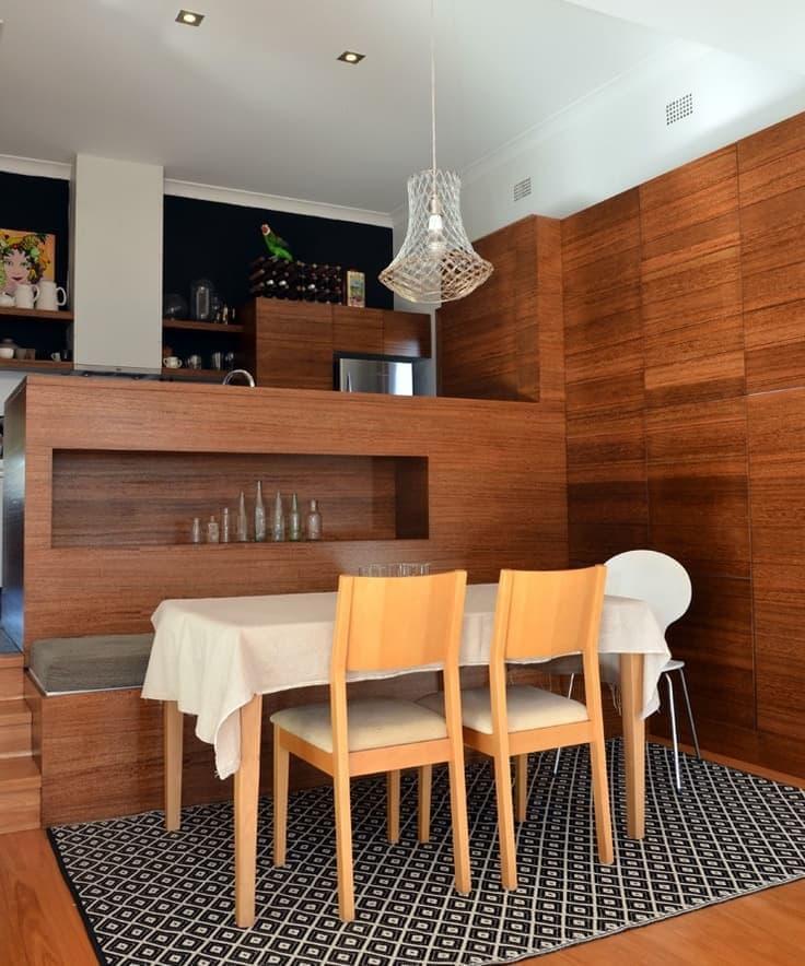 Деревянная скамейка на кухне 3