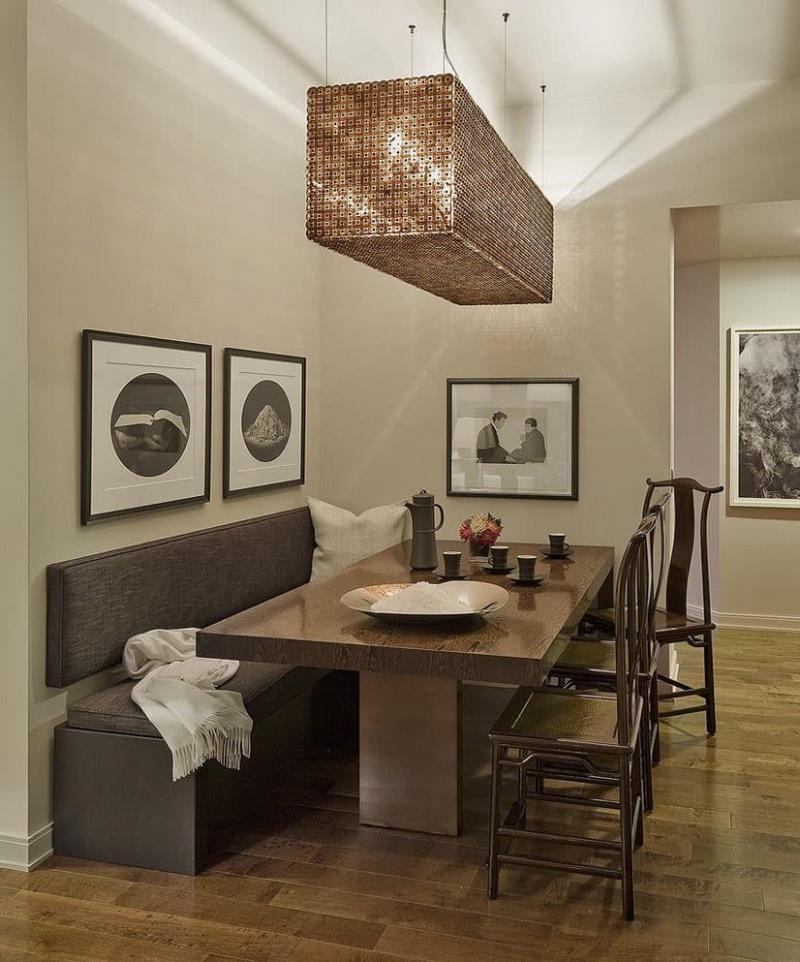 Деревянная скамейка на кухне 4