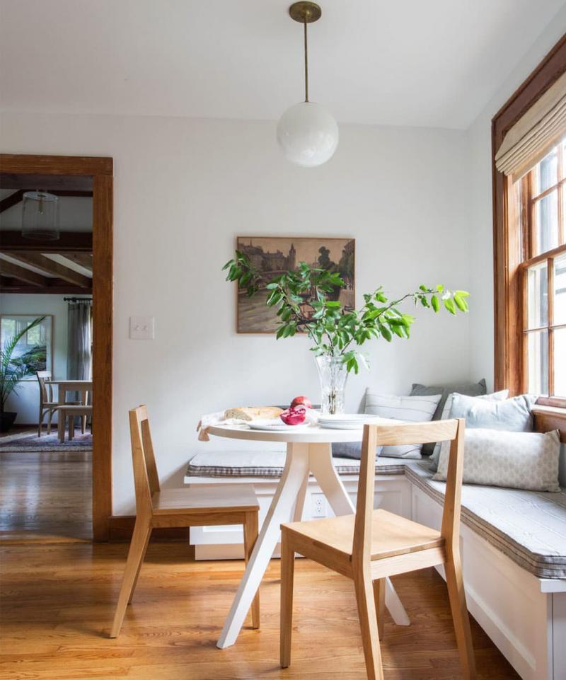 Деревянная скамейка на кухне 6
