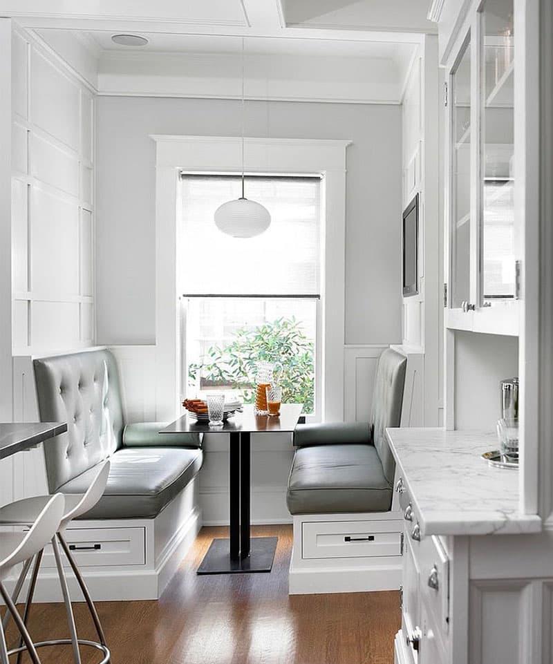 Деревянная скамейка на кухне 7