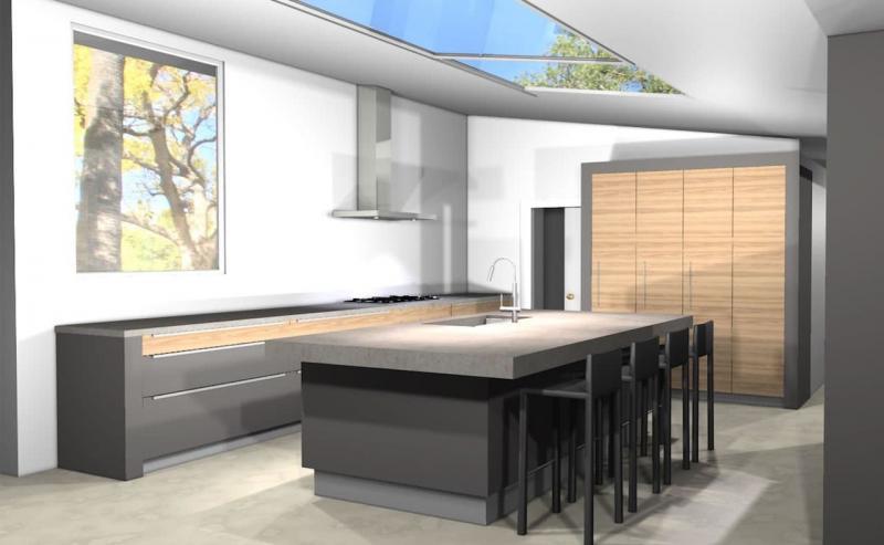 Кухня без верхней линии шкафов 1