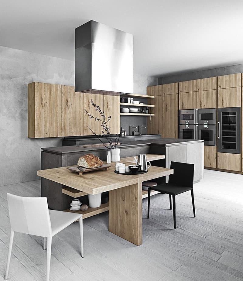 Кухня с древесными фасадами 5