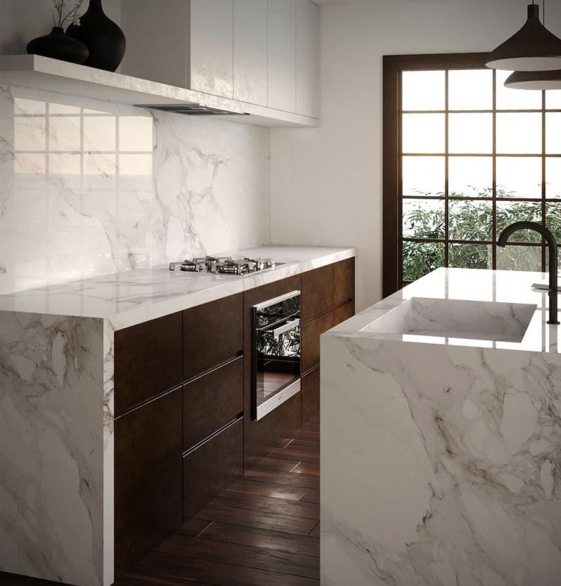 Мрамор в интерьере кухни 2018 3
