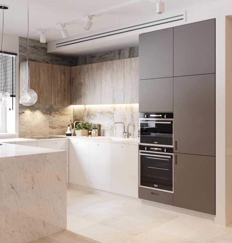 Мрамор в интерьере кухни 2018 4