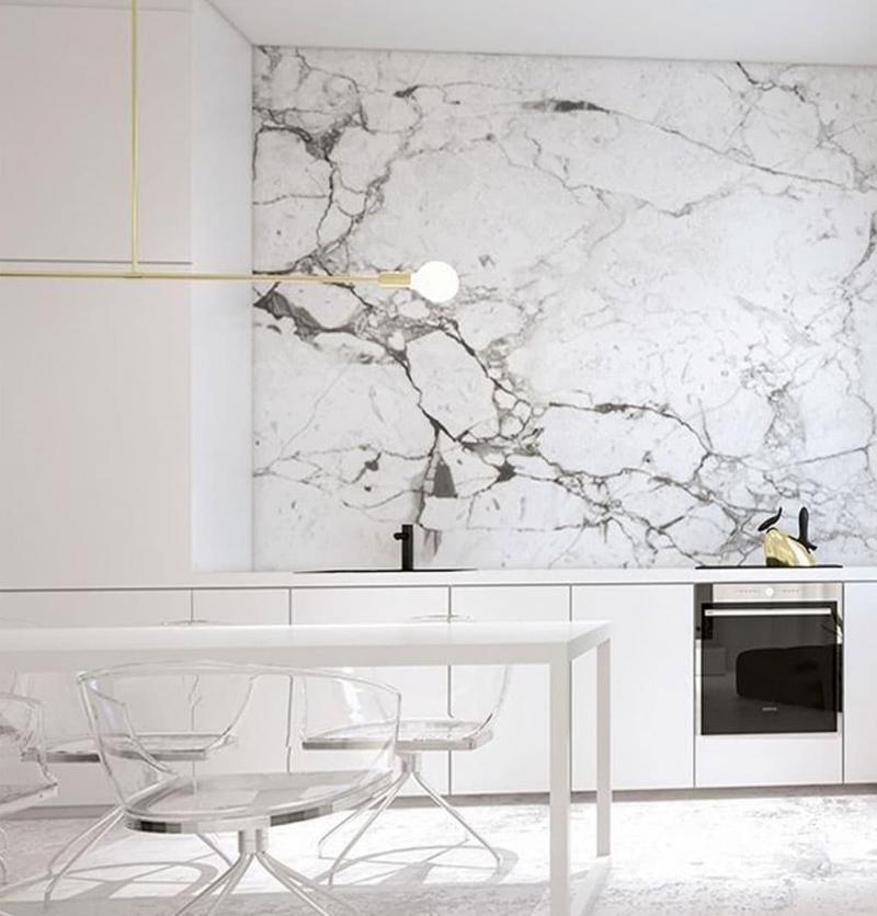 Мрамор в интерьере кухни 2018 6