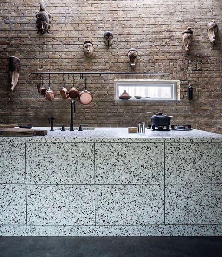 Венецианский тераццо в интерьере кухни 2018 4