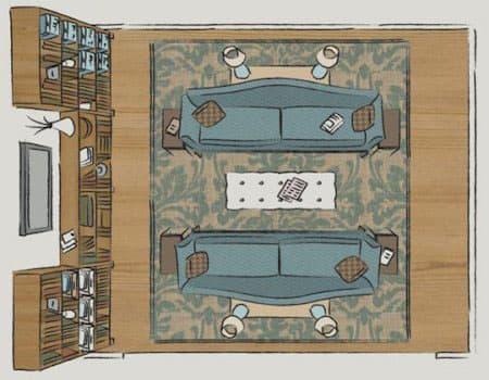 Планировка гостиной-библиотеки
