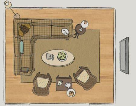 Планировка гостиной конференц-зал