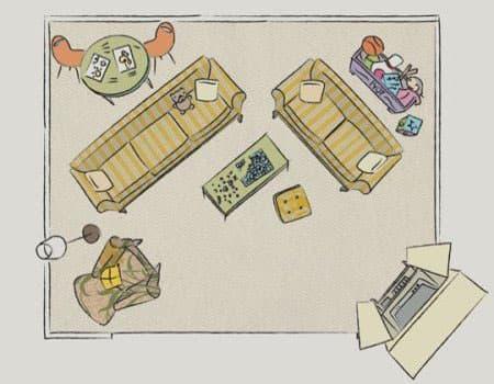 Планировка гостиной с детской зоной