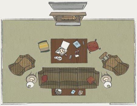 Планировка гостиной с домашним кинотеатром