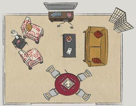Планировка гостиной с зонами интересов