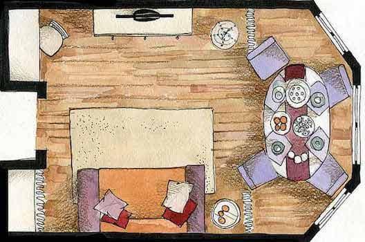 Планировка гостиной со столовой