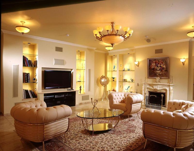 Светильники в интерьер гостиной 3