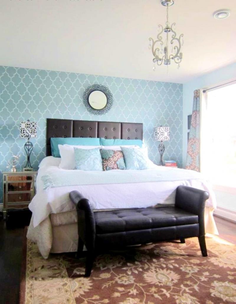 Голубые обои для спальни 3