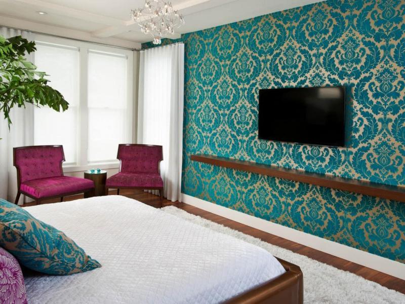 Голубые обои для спальни 4