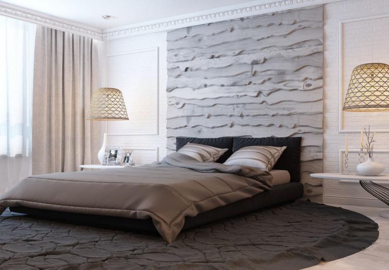 Акцентная стена в спальне из дерева 1