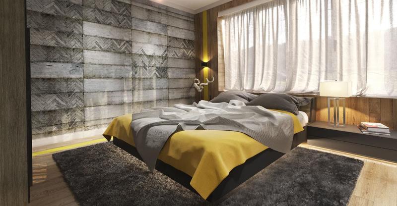 Акцентная стена в спальне из дерева 10