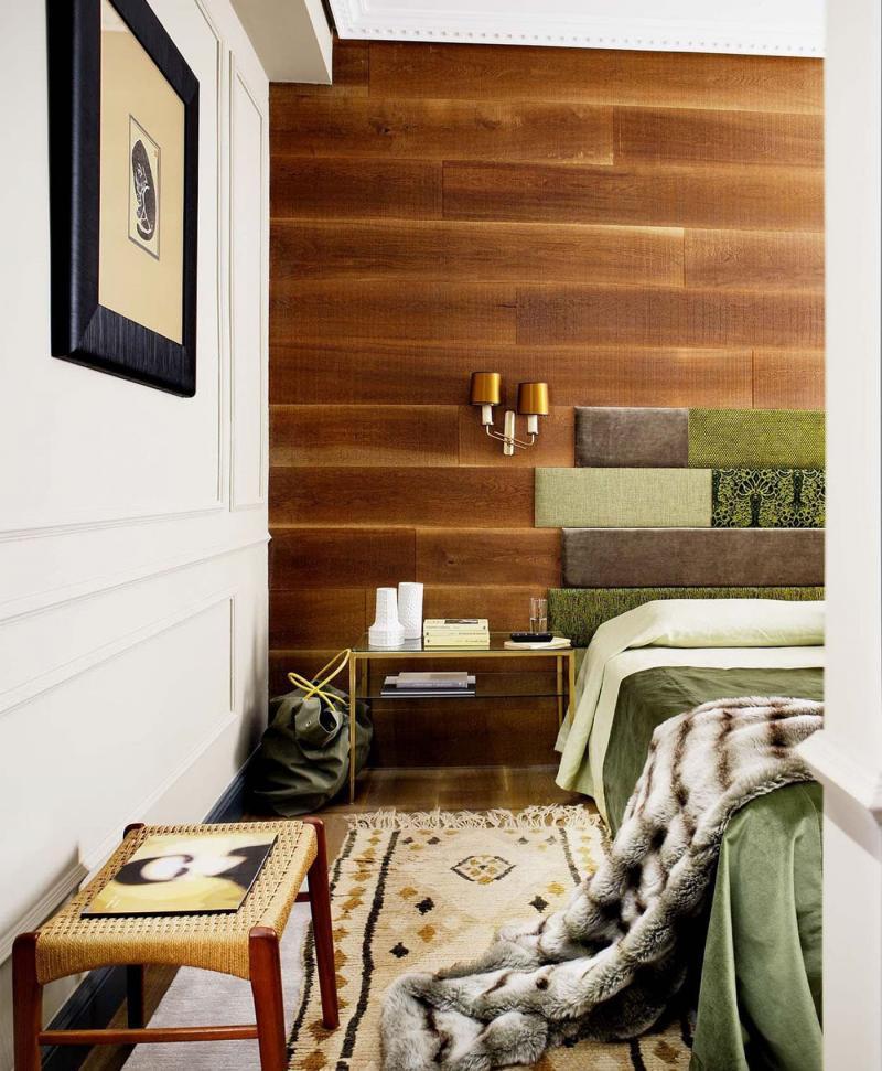 Акцентная стена в спальне из дерева 3
