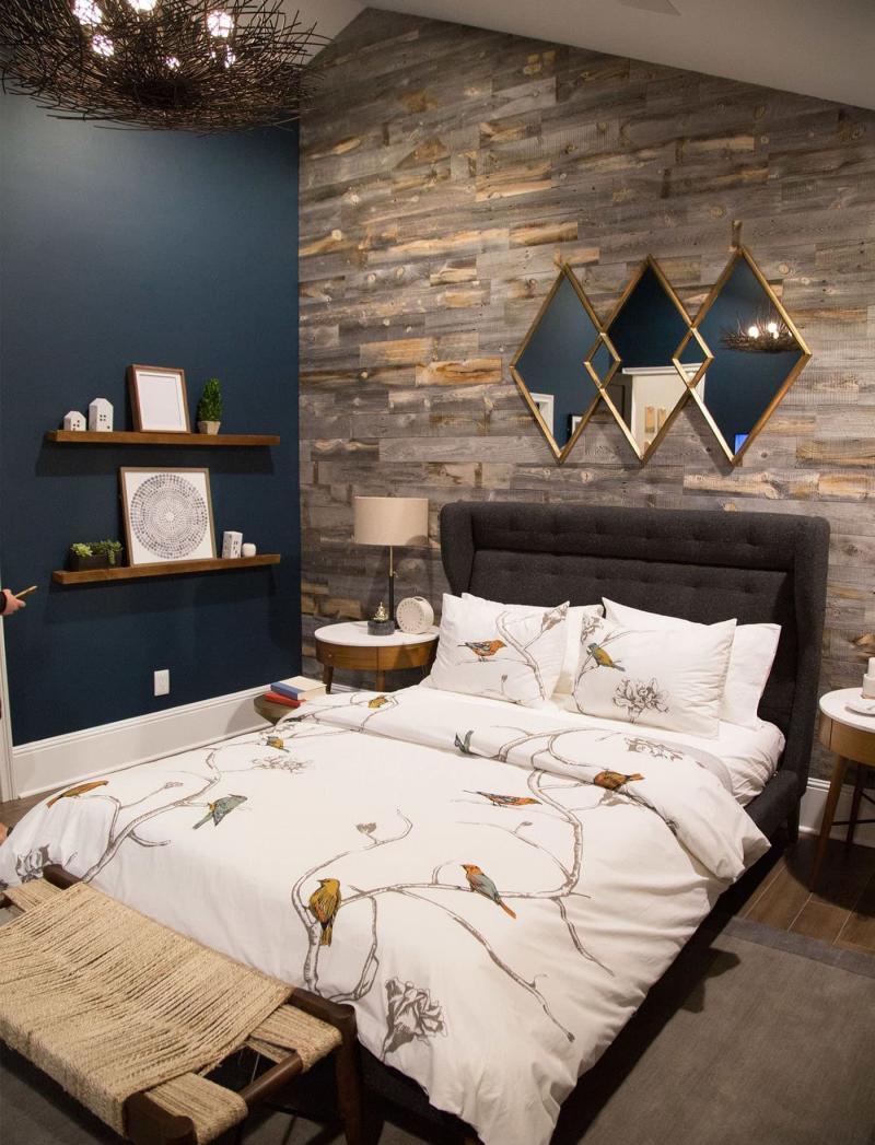 Акцентная стена в спальне из дерева 4