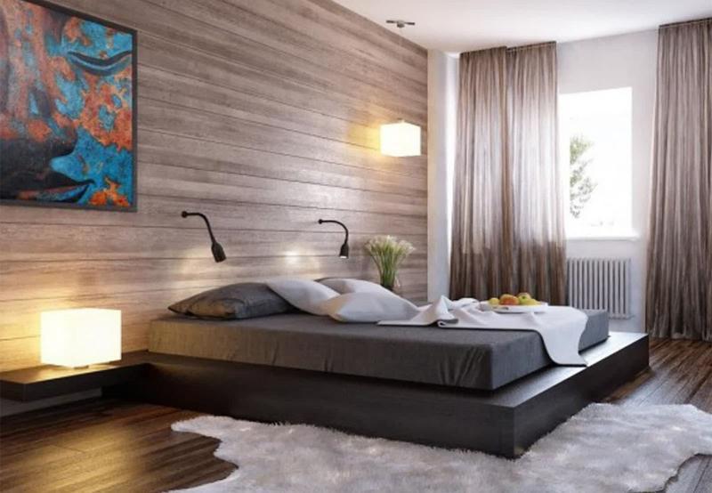 Акцентная стена в спальне из дерева 6
