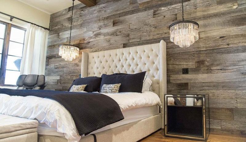 Акцентная стена в спальне из дерева 8