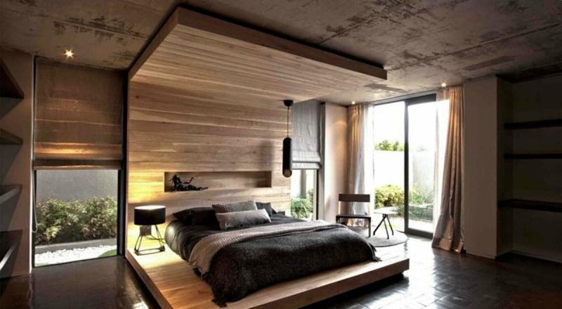 Акцентная стена в спальне из дерева 9
