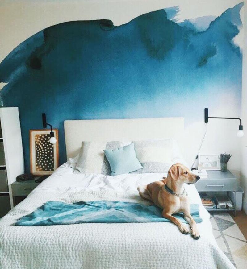 Омбре в интерьере спальни 2