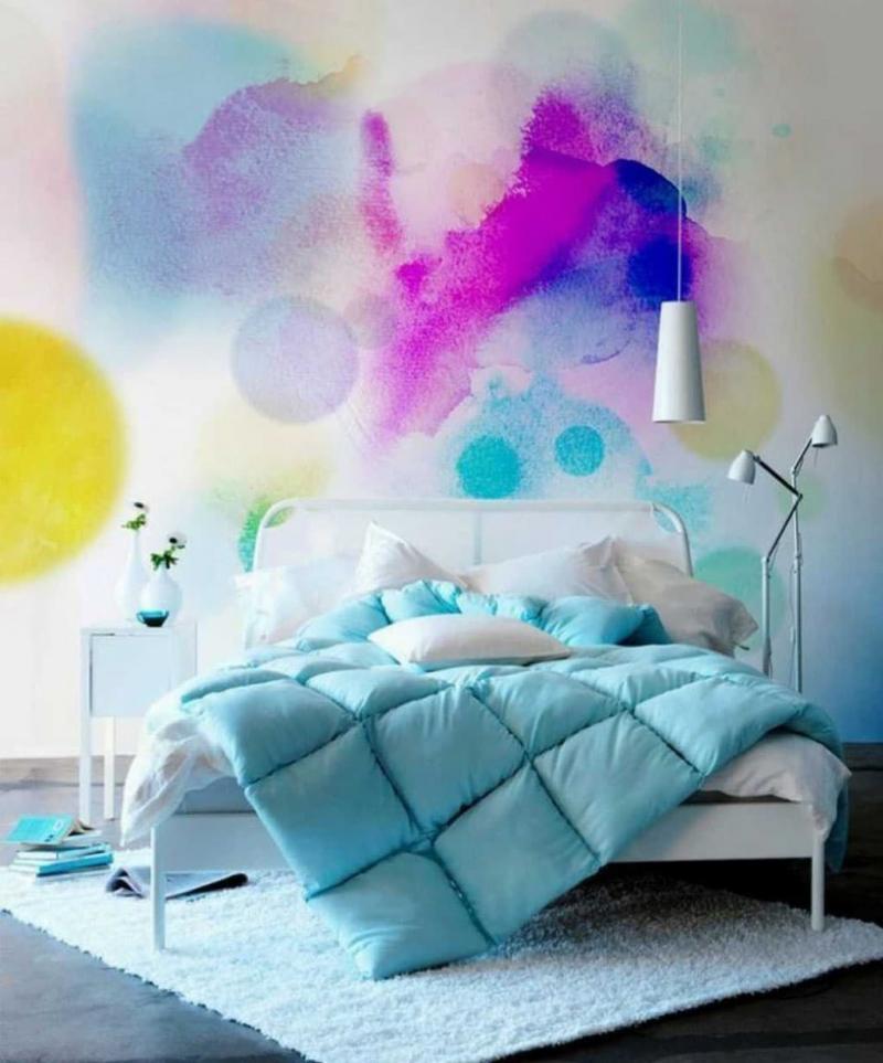 Омбре в интерьере спальни 7