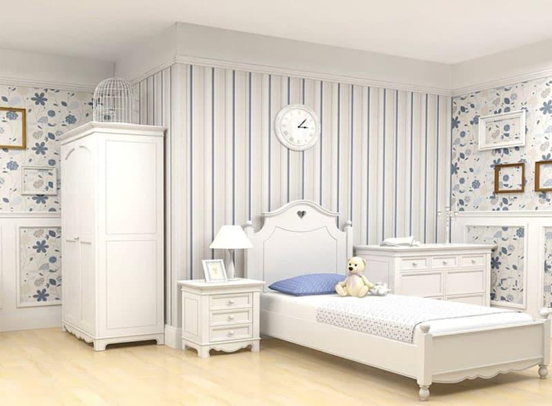 Отделка стен в спальне прованс 1