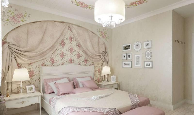 Отделка стен в спальне прованс 3