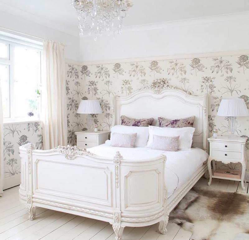 Прованские оттенки в спальне (белый)