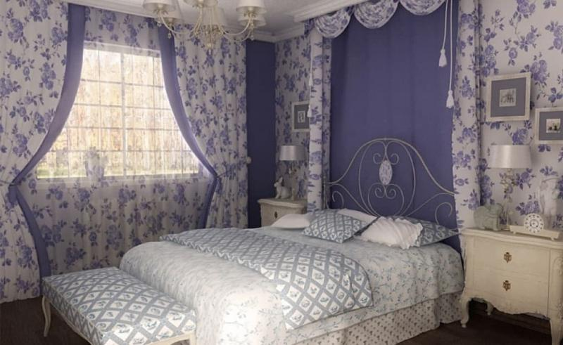 Прованские оттенки в спальне (лавандовый)