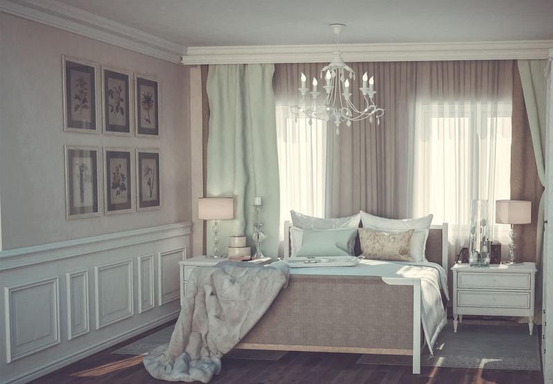 Светлая палитра оттенков прованской спальни 6