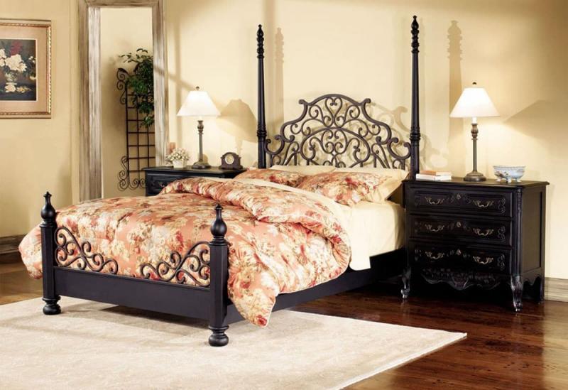 Темные оттенки в спальне прованс 4