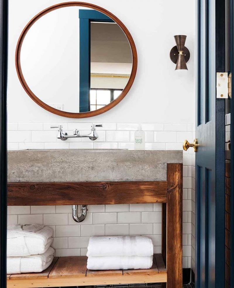 Бетон и гипс в интерьере ванной комнаты 4