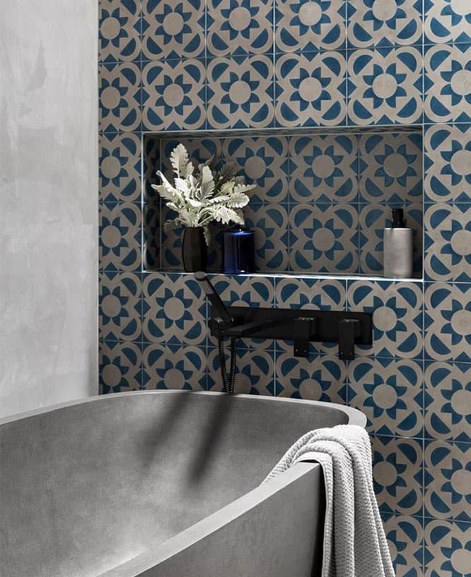 Эклектичная плитка в интерьере ванной комнаты 5