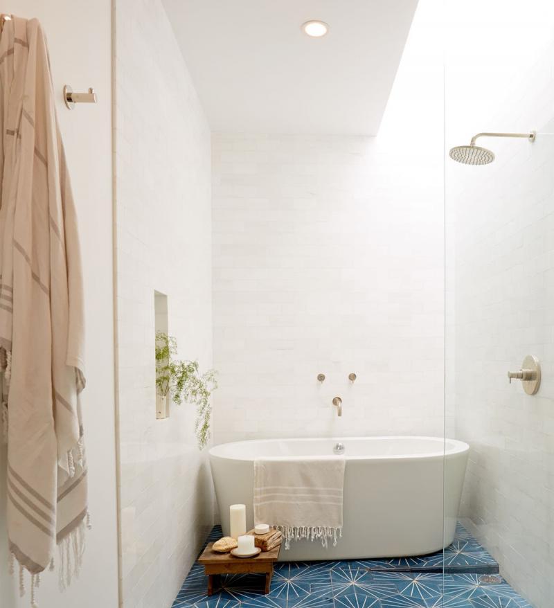 Эклектичная плитка в интерьере ванной комнаты 6