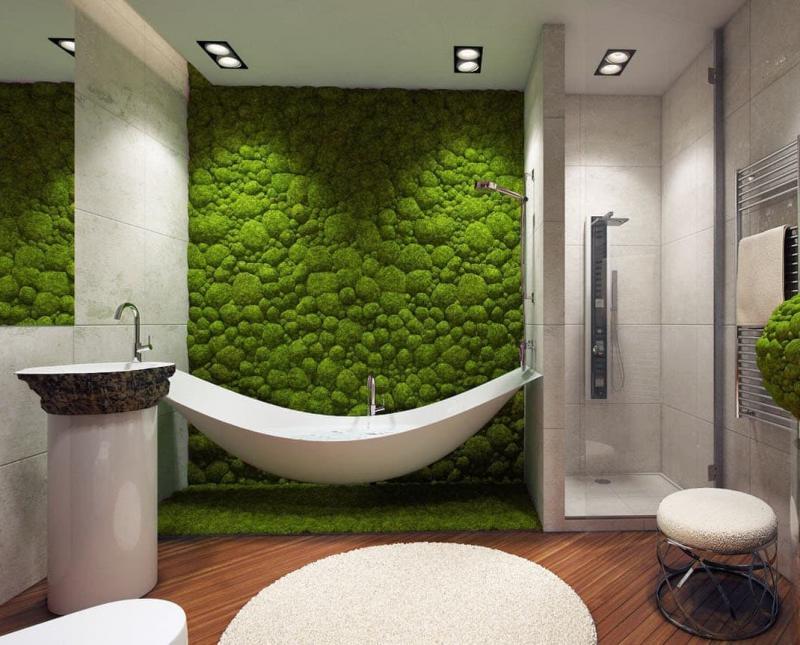 Фитомодуль в интерьере ванной комнаты 1